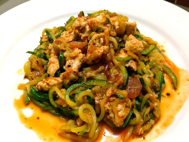 zuchinni spaghetti with meat sauce