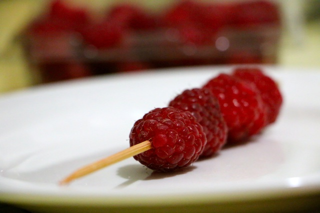 skewer rasberries