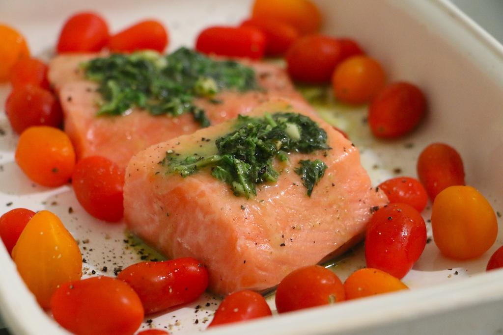 Roasted Tomato Basil Salmon - Whitney E. RD