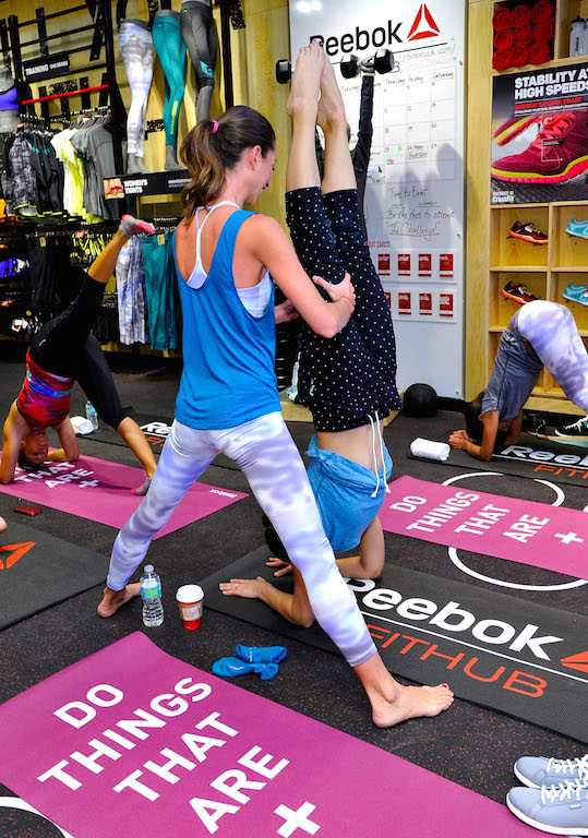 Haylie Duff And Tara Stiles Host Yoga Event At New Reebok FitHub In Studio City