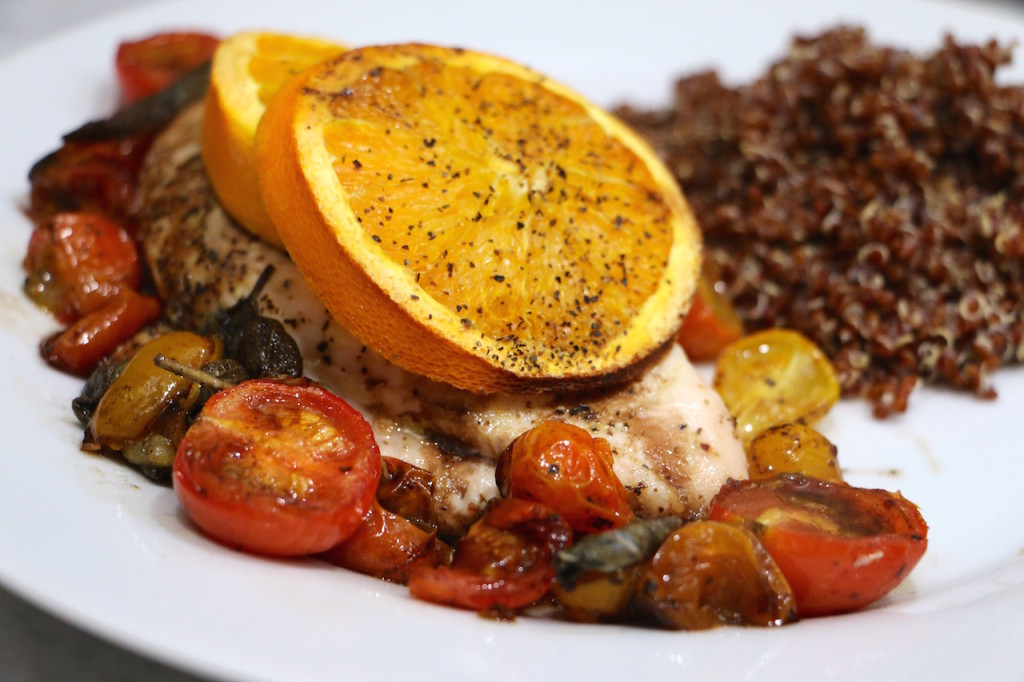 ... turned out to be a pretty eye-catching dish: Orange Balsamic Chicken