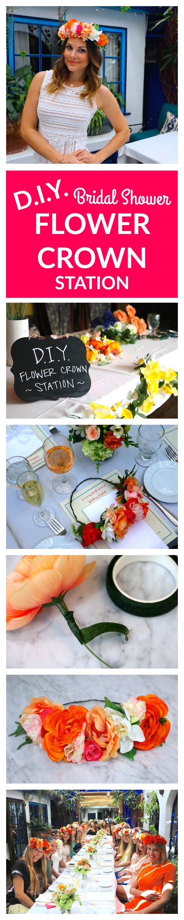 flower crown making station for bridal showers
