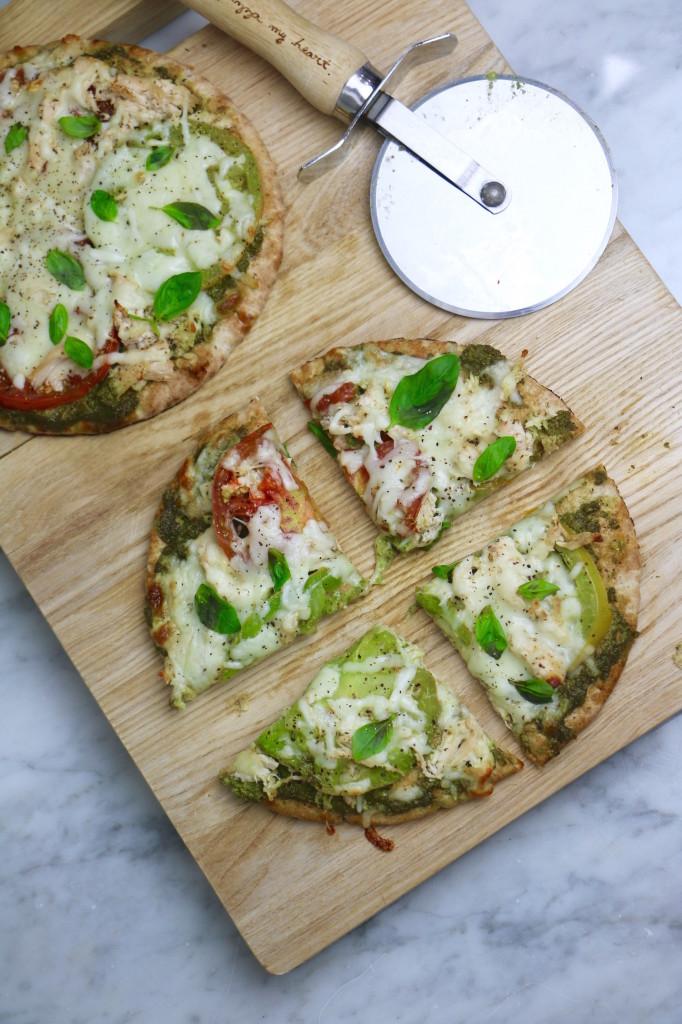 Chicken Pesto Pita Pizza