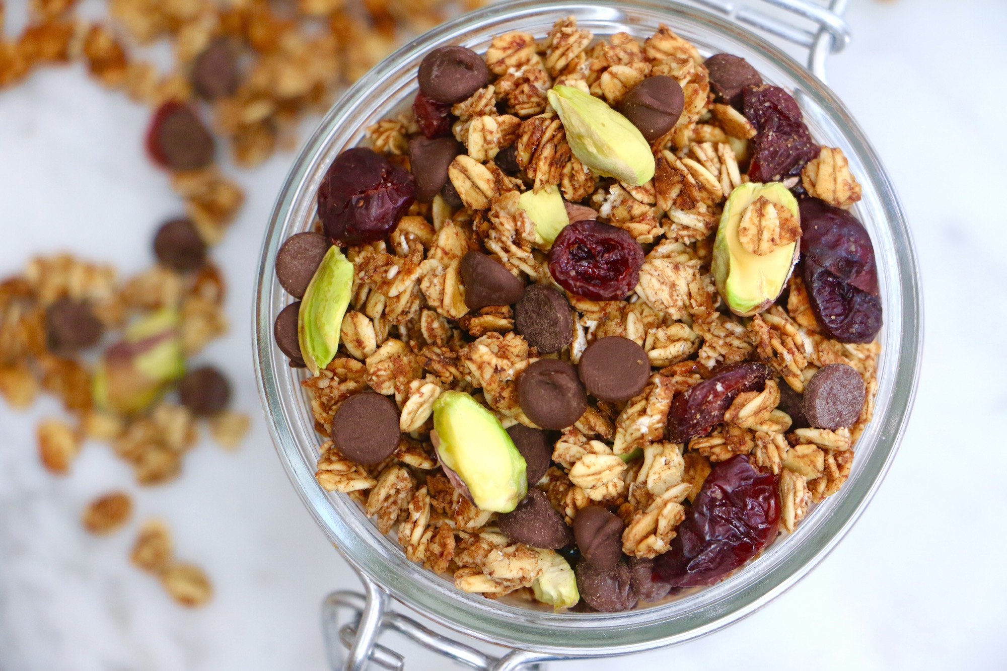 Dark Chocolate Cranberry Pistachio Granola Recipe