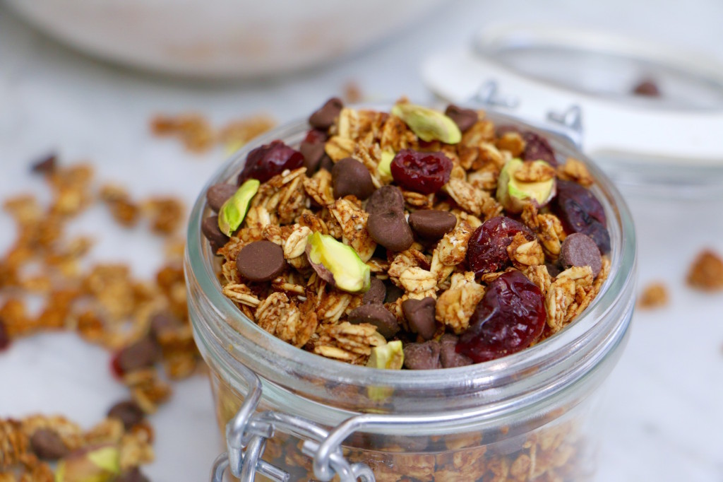 Homemade Dark Chocolate Cranberry Granola