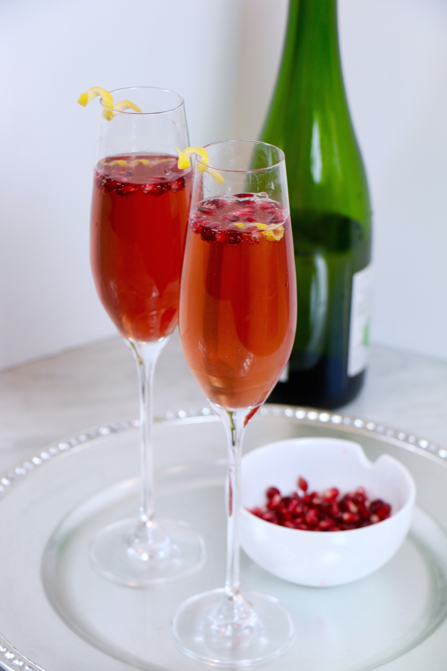 Lemon Pomegranate Champagne Cocktail