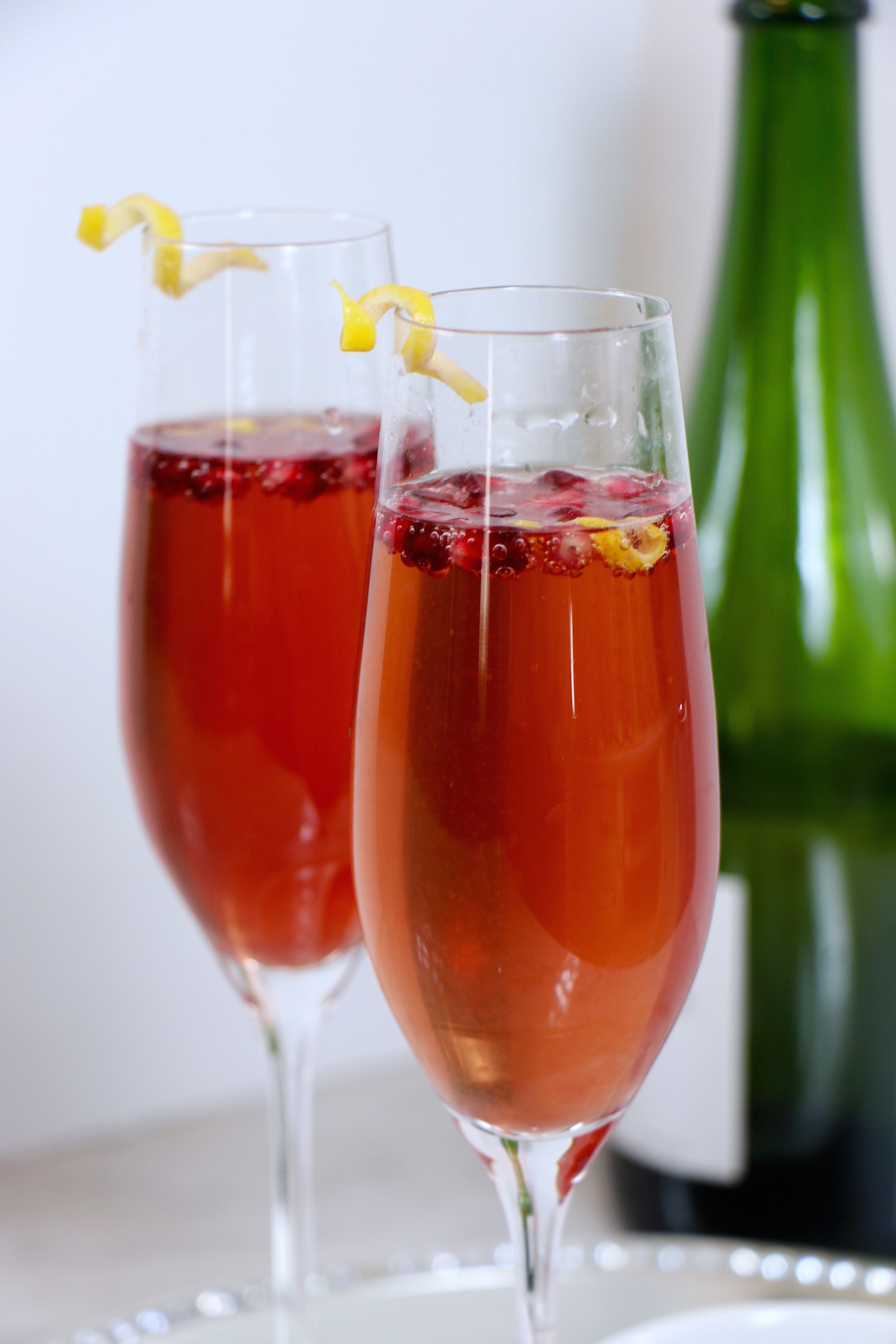 Lemon Pomegrante Champagne Cocktail