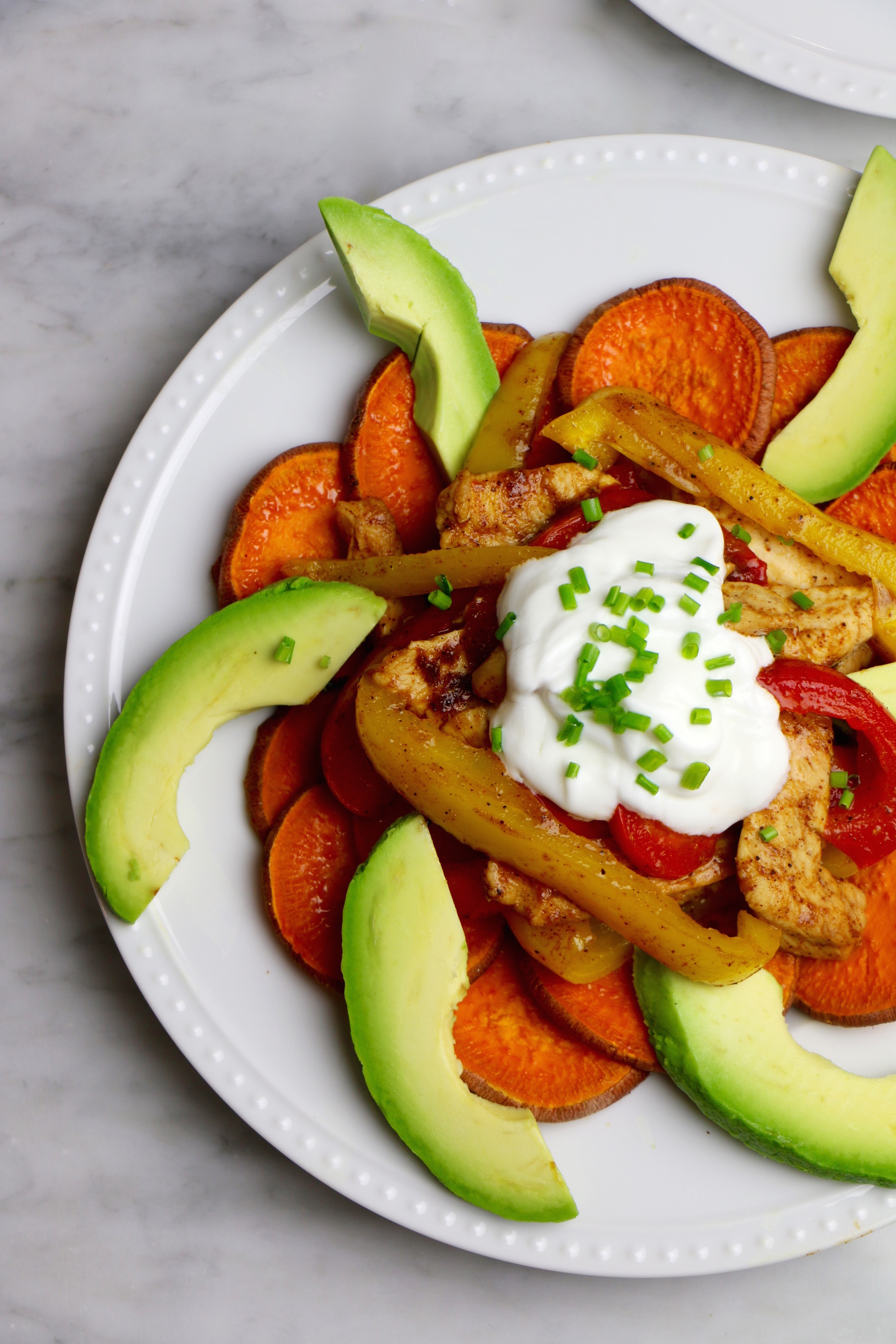 Healthy Sweet Potato Fajita Chicken Nachos Recipe - gluten-free.