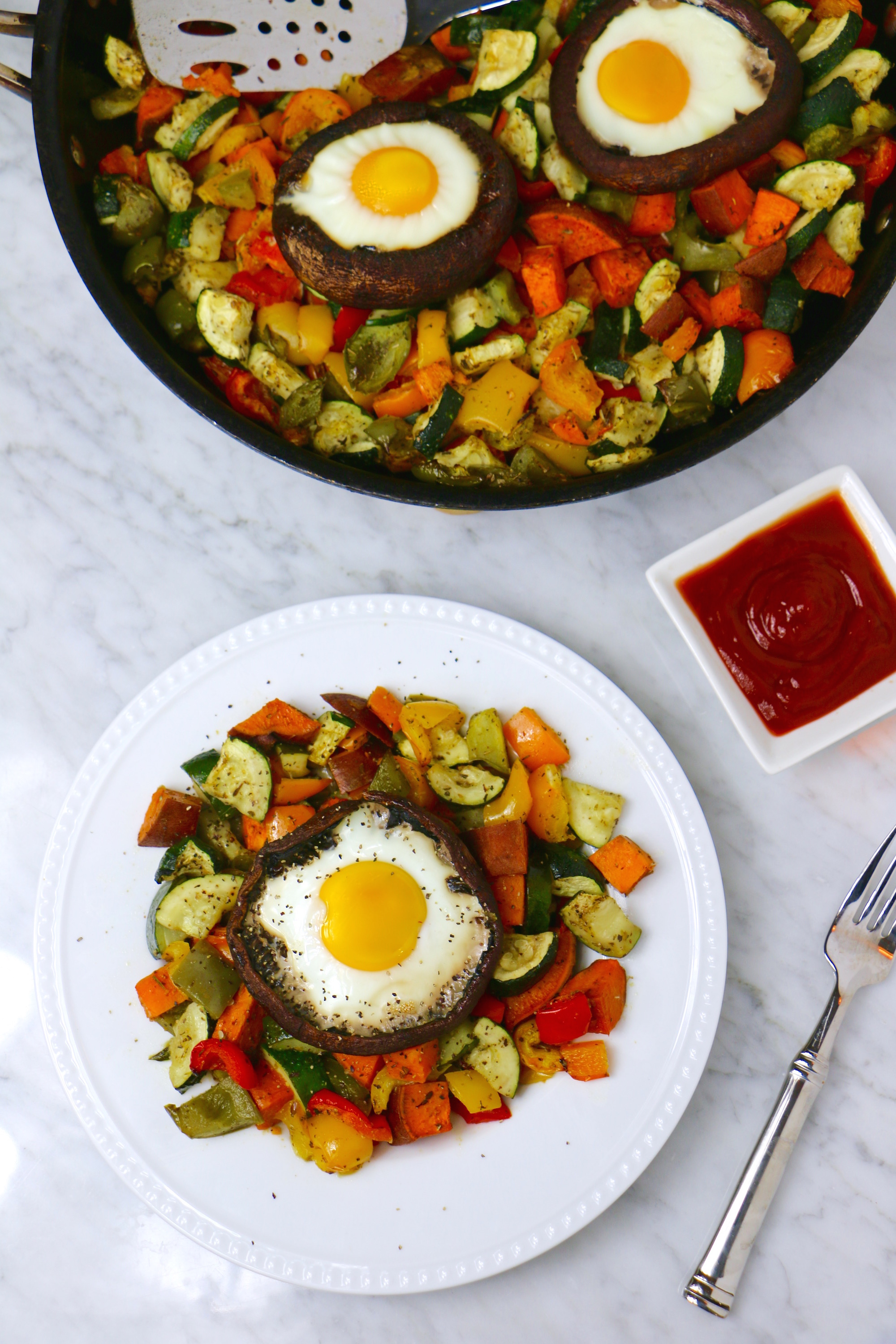 Mushroom Egg Bake with Roasted Veggies