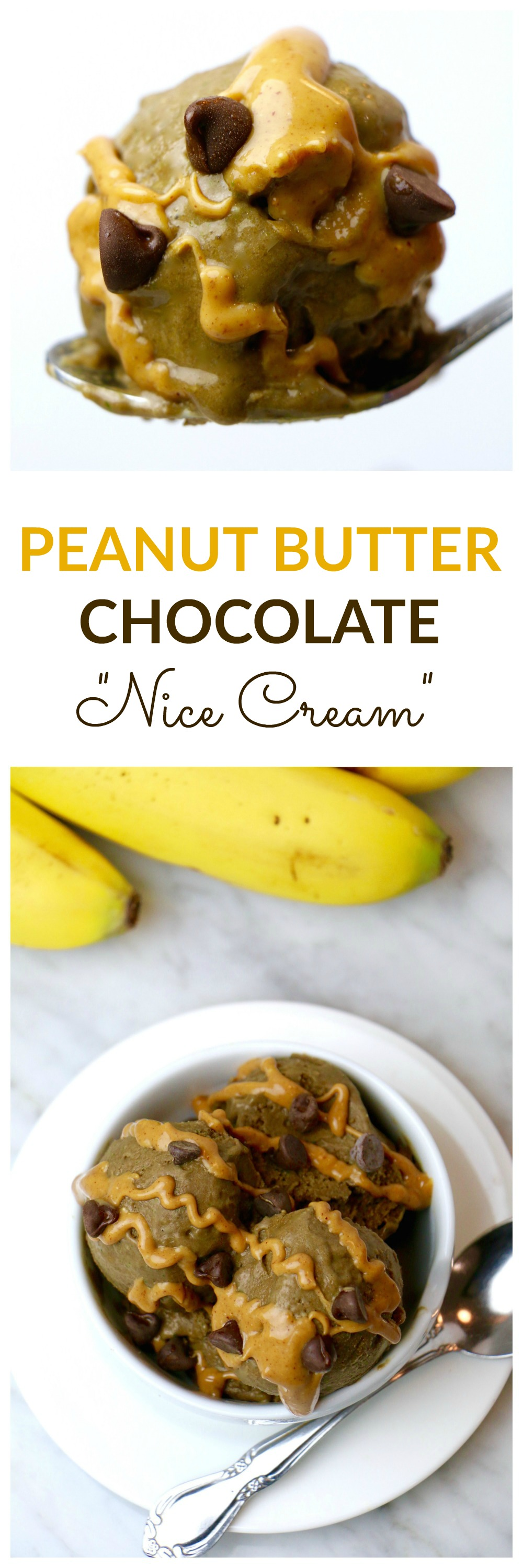 Healthy Peanut Butter Chocolate Nice Cream - packed with plant-based protein, complex carbs, and healthy fat. Makes a great post-workout snack or healthy dessert option!