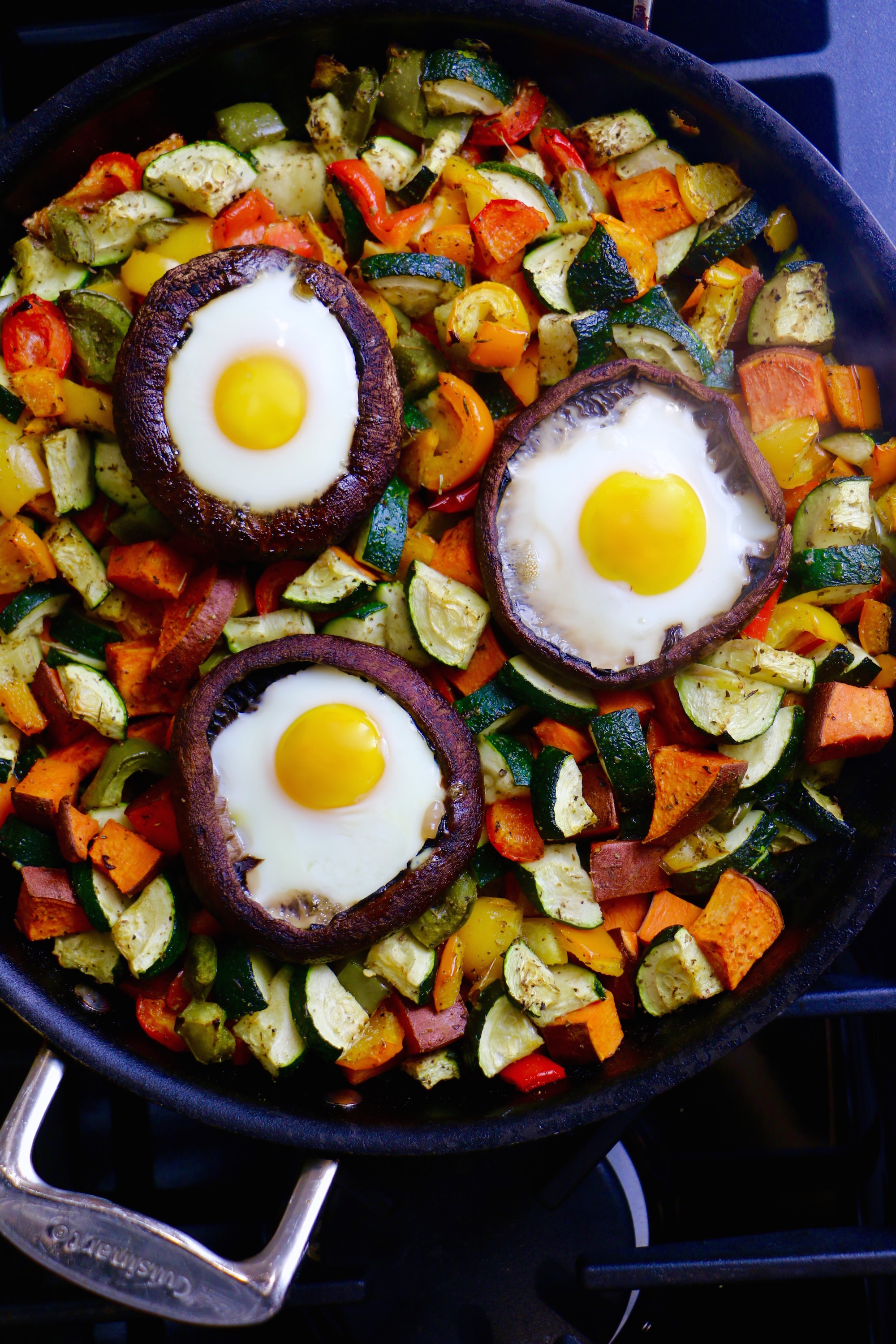 This hearty, delicious Portobello Mushroom Egg Bake with Colorful Roasted Veggies makes an excellent healthy breakfast!