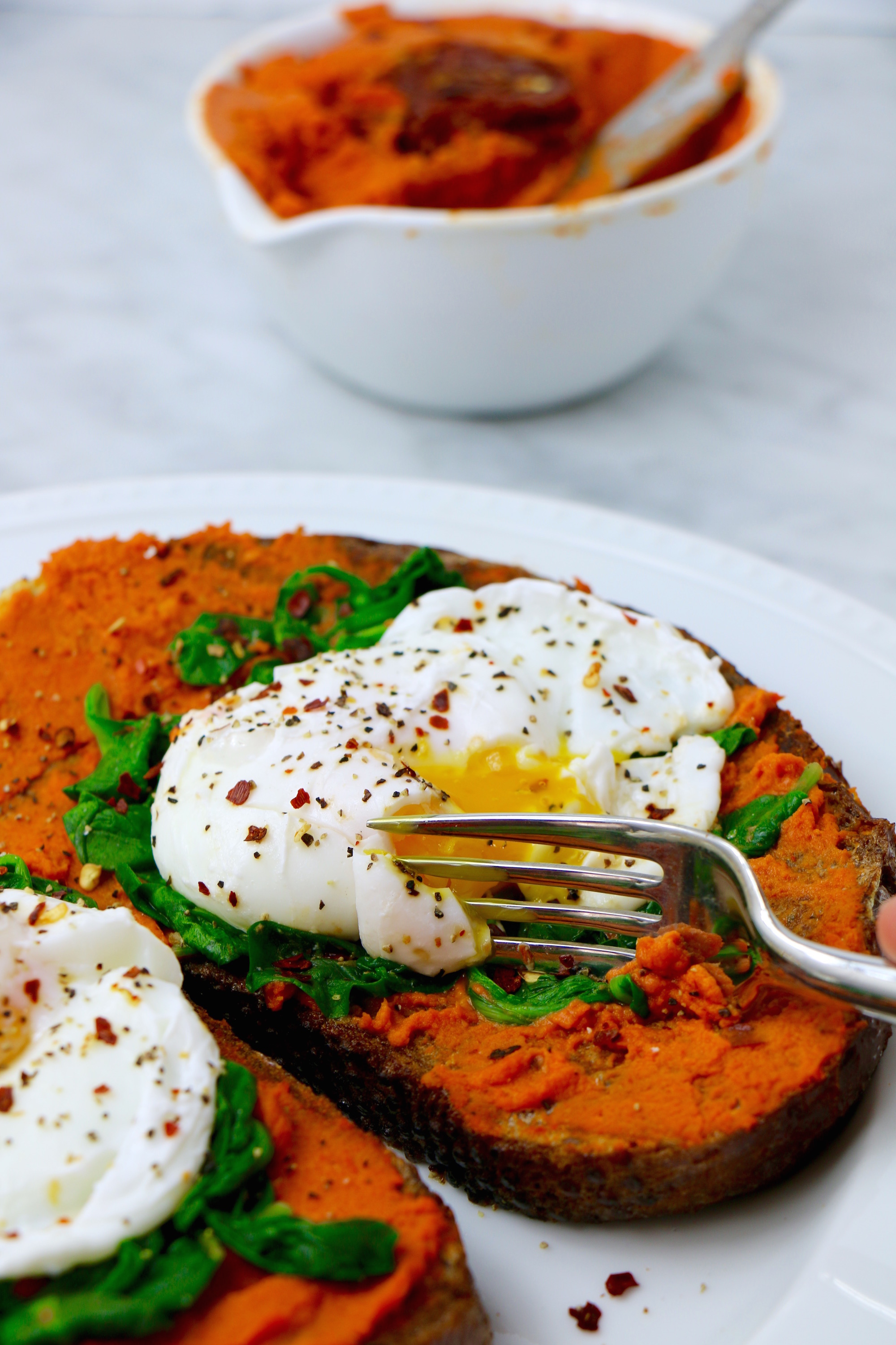 Savory French Toast with Poached Eggs