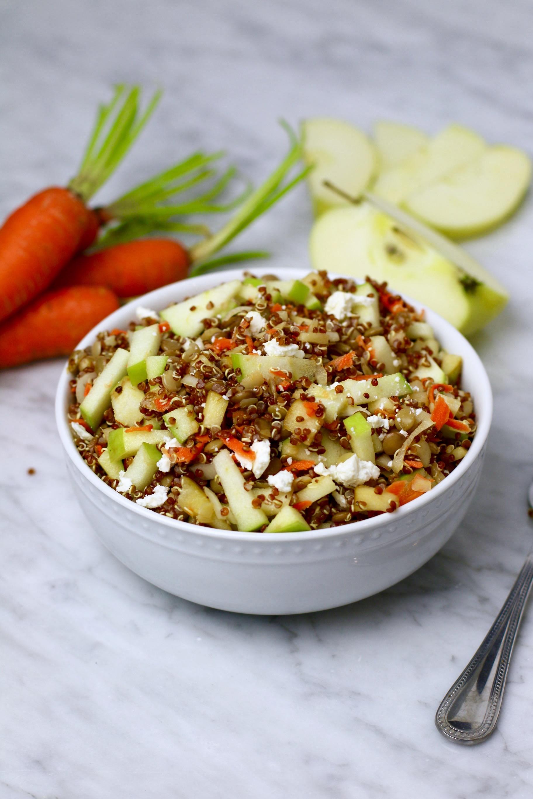 Vegetarian Green Apple Green Lentil Quinoa Salad