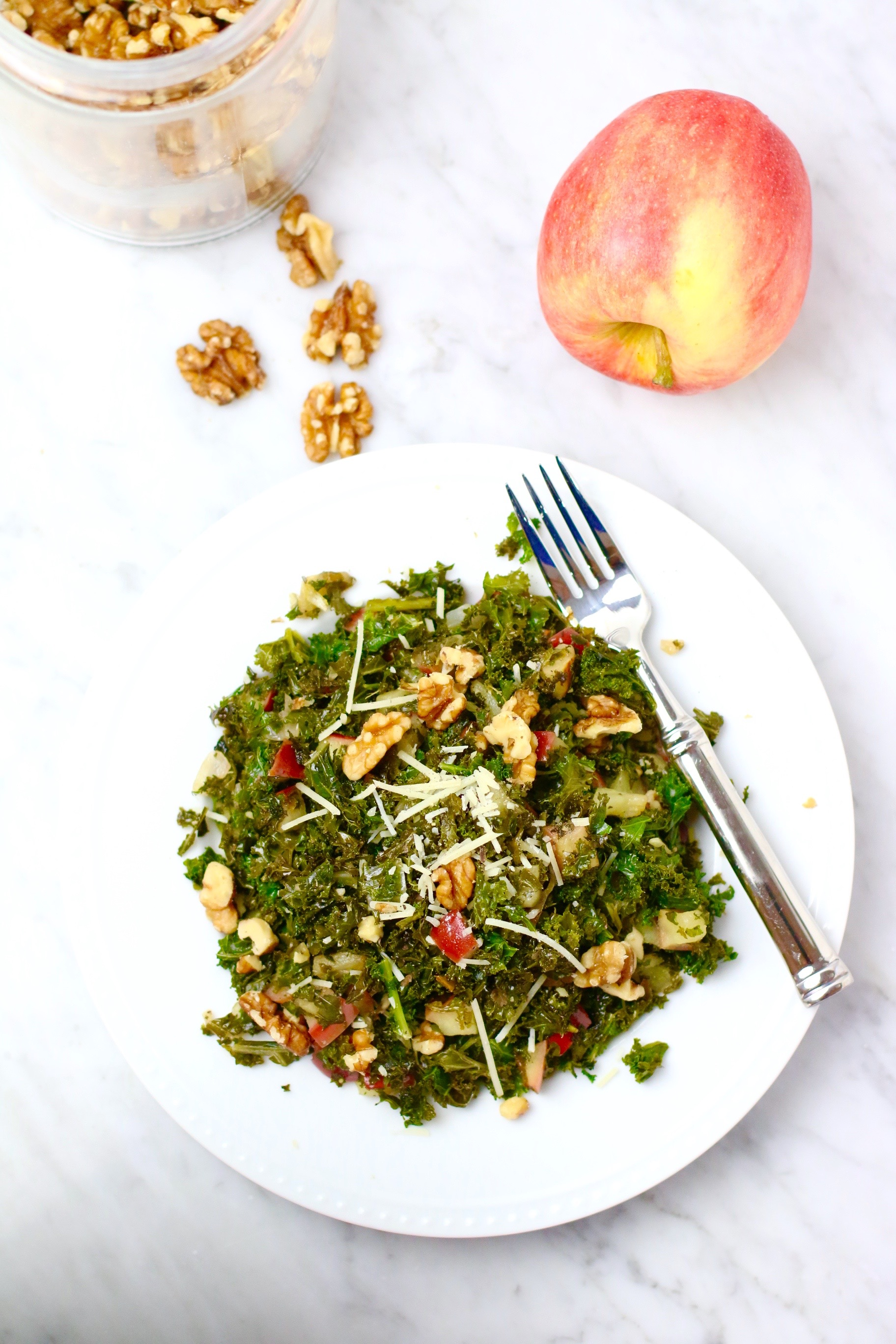 Sauteed Kale Salad with Walnuts and Apples