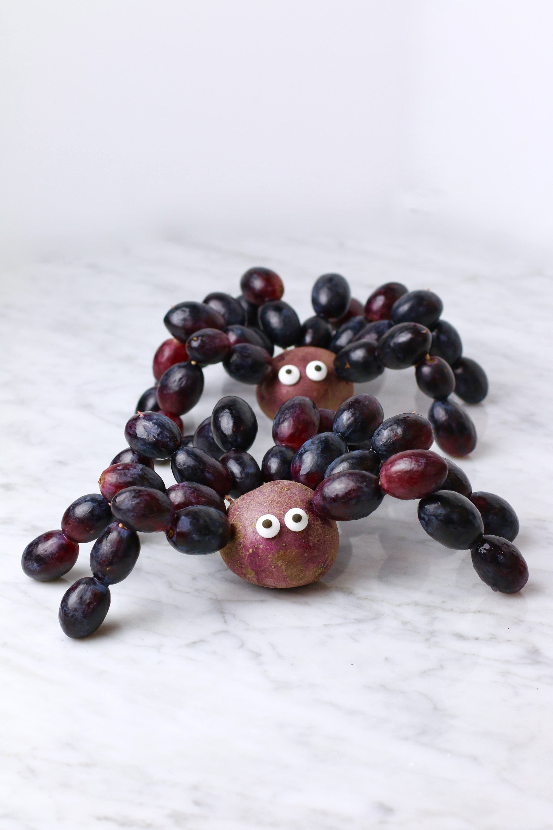 Grape Spiders - Healthy Halloween Snacks for Kids