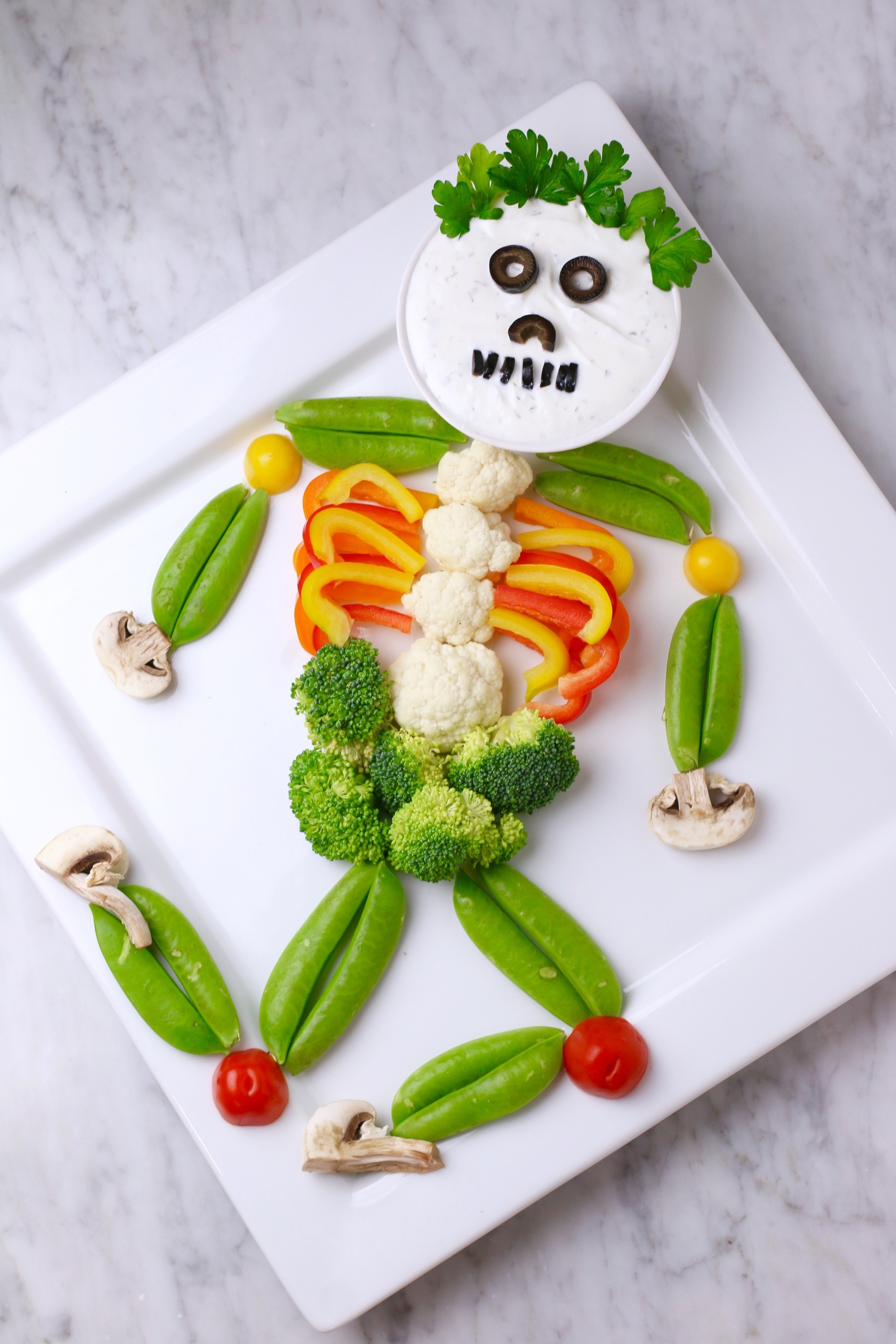 Skeleton Veggie Tray - Healthy Halloween Snacks for Kids