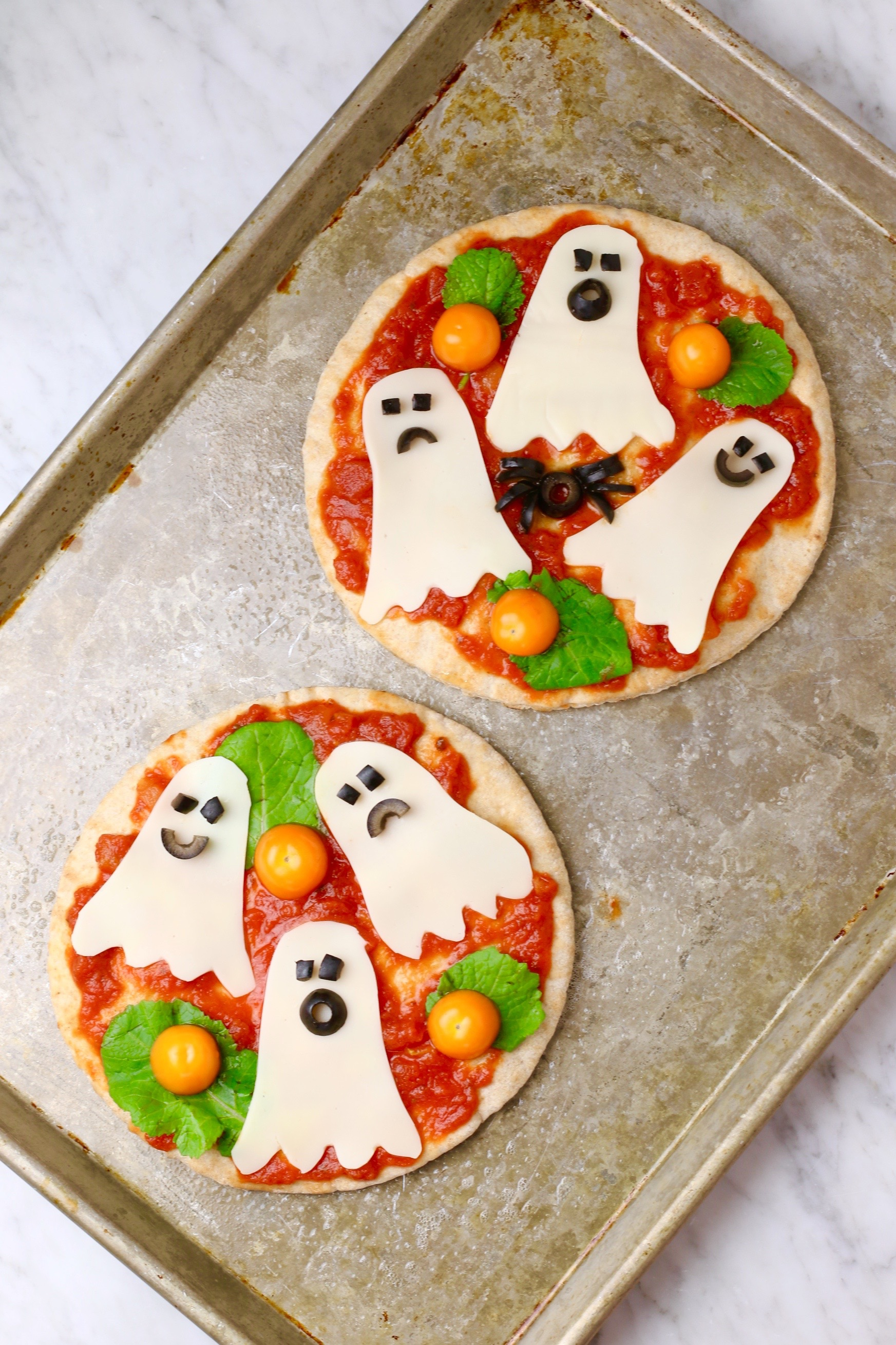 Ghost Pizza - Healthy Halloween Snacks for Kids