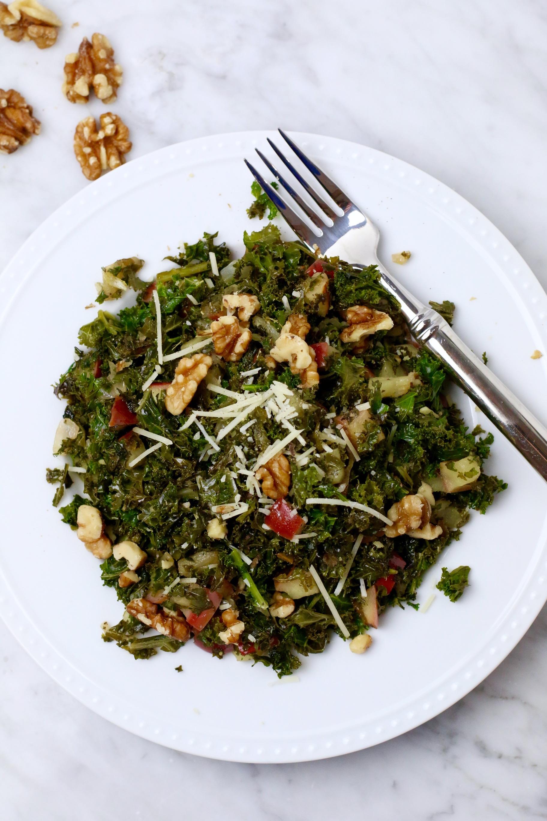 sauteed-kale-apple-walnut-salad