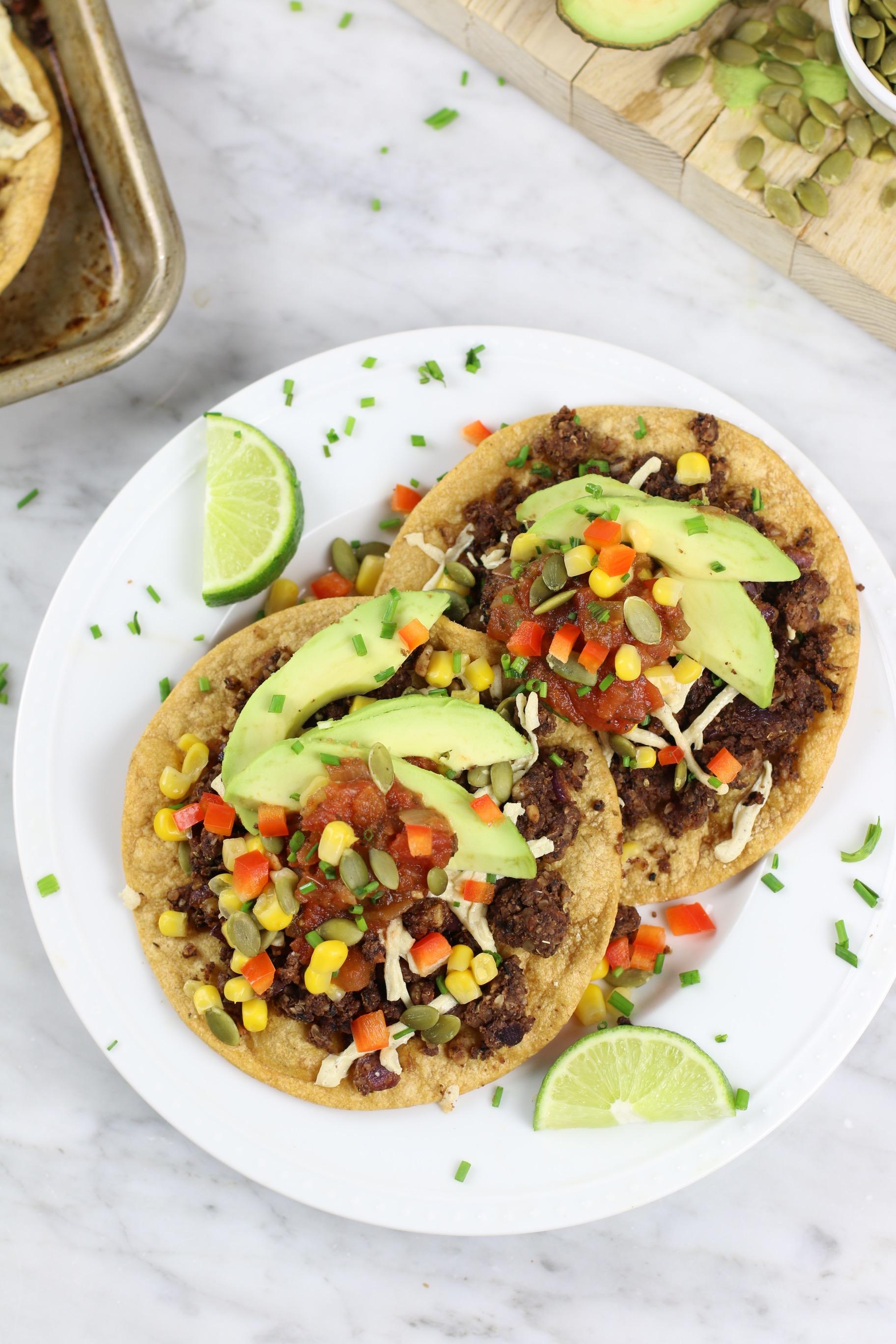 Healthy Black Bean Vegan Tostadas