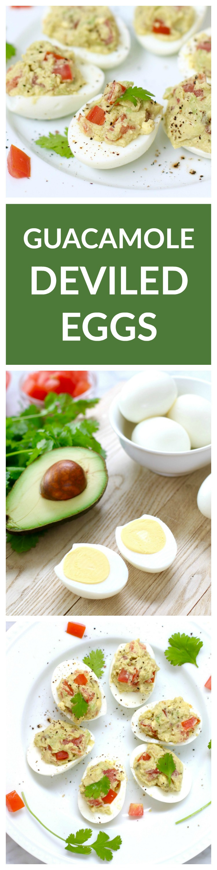 Guacamole Deviled Eggs - classic deviled eggs with avocado and tomatoes!