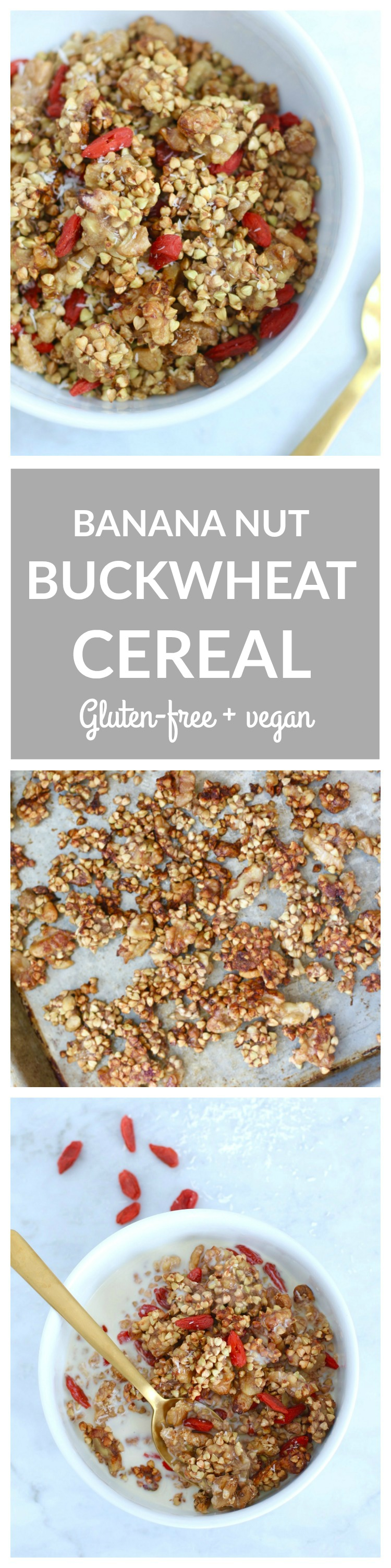 Banana Nut Buckwheat Cereal - a healthy breakfast cereal made with gluten-free buckwheat groats. Slightly sweetened with banana and maple syrup. #vegan #glutenfree