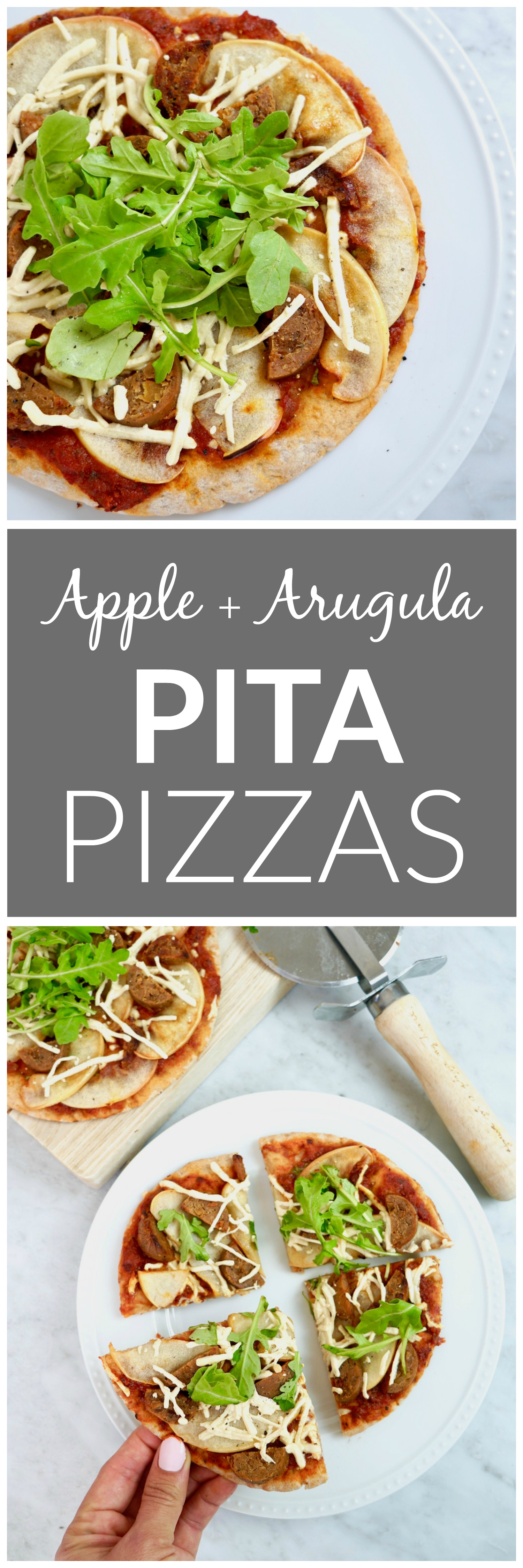Apple + Arugula Pita Pizzas - vegan