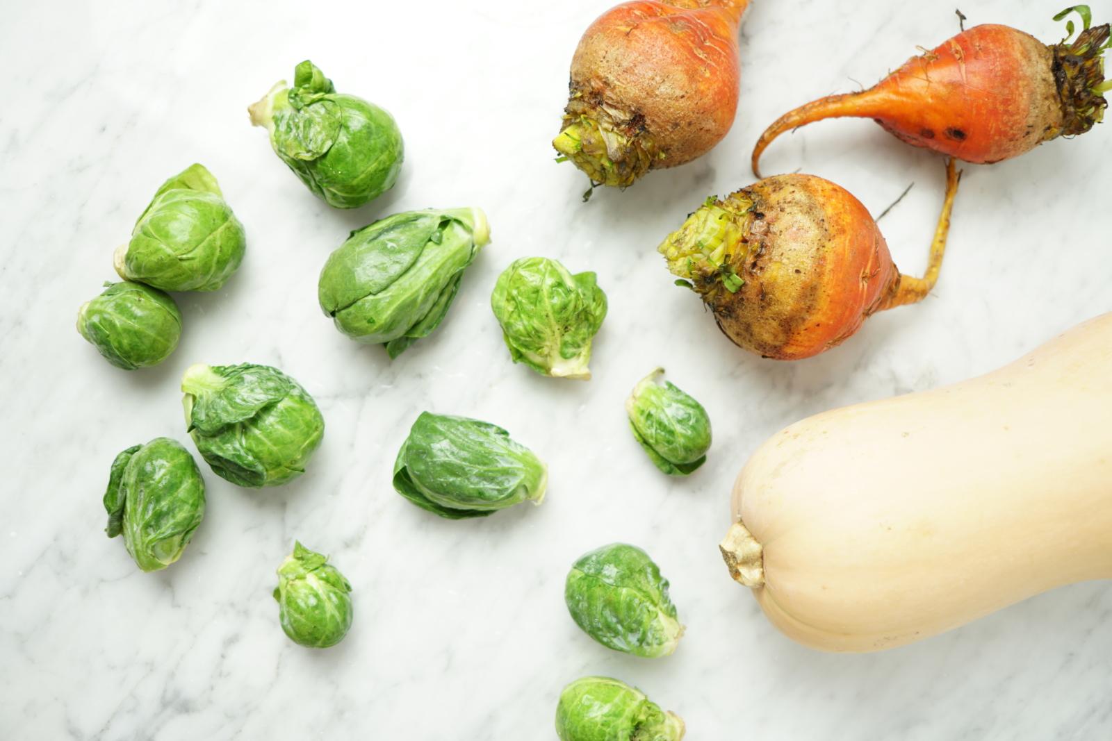 thanksgiving vegetables - brussels sprouts, butternut squash, beets