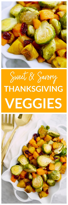 Sweet + Savory Thanksgiving Vegetables - a healthy, vegan Thanksgiving side dish