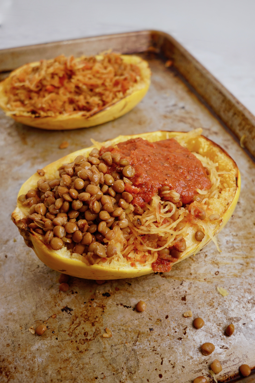 spaghetti squash boats with vegan ricotta