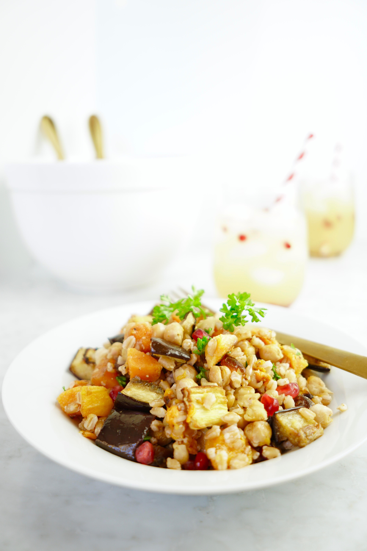 Warm Roasted Butternut Squash + Farro Salad - Whitney E. RD