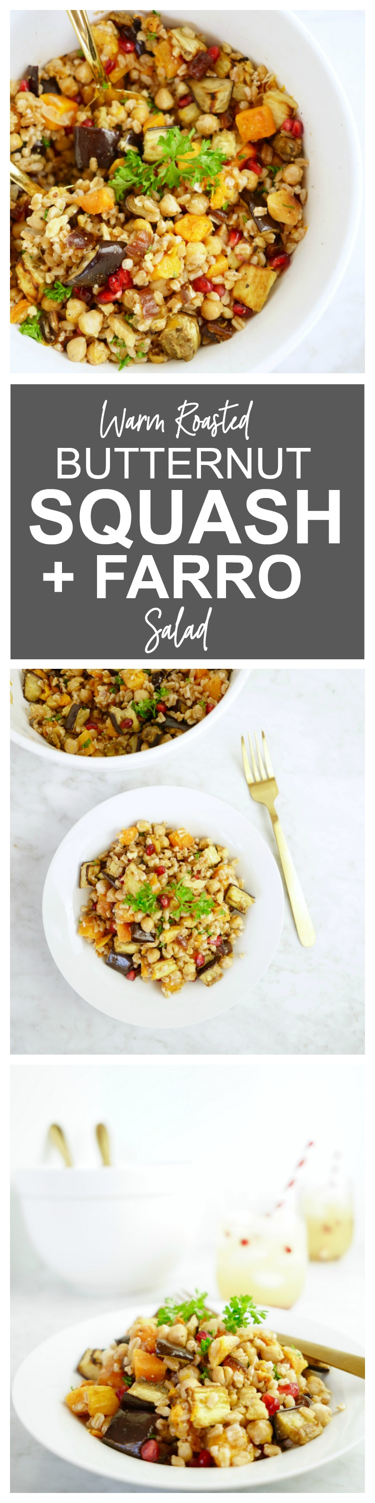 Warm Roasted Butternut Squash + Farro Salad