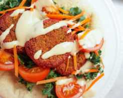Baked Beet Falafels with Lemon Tahini Sauce