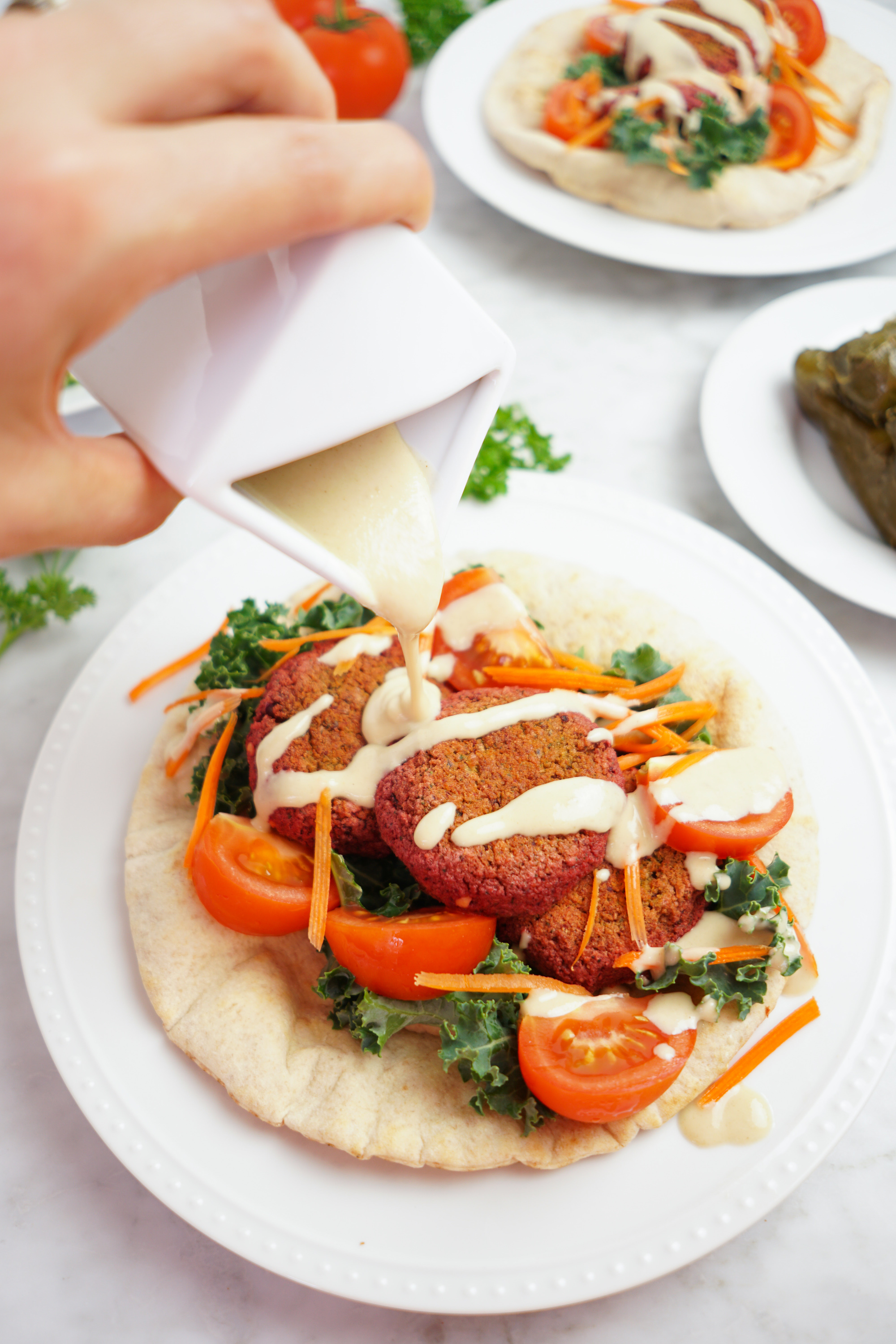 Baked Red Lentil Falafels with Lemon Tahini Sauce