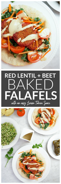 Beet + Red Lentil Baked Falafels with a Lemon Tahini Sauce