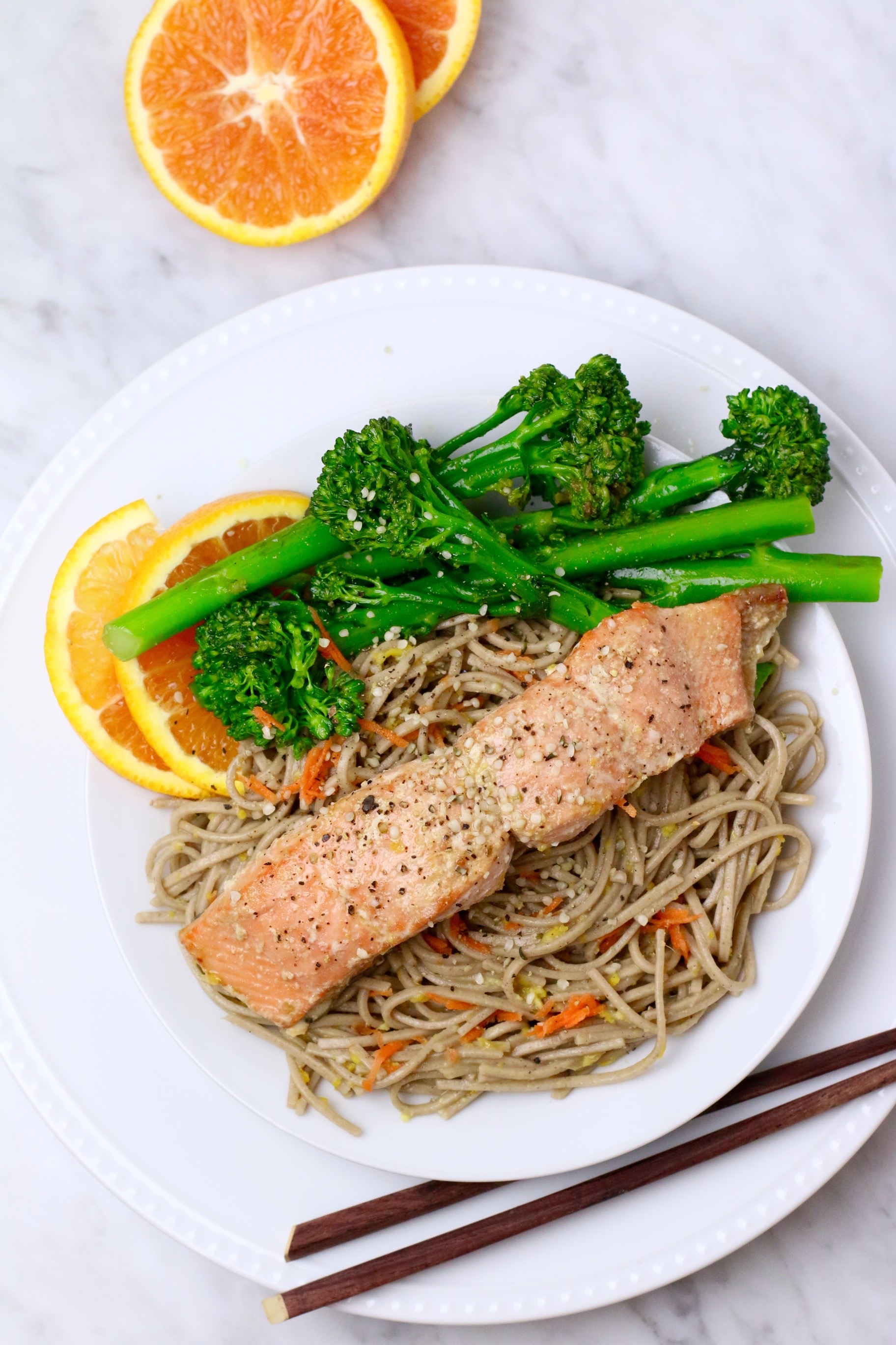 orange ginger salmon with soba noodles
