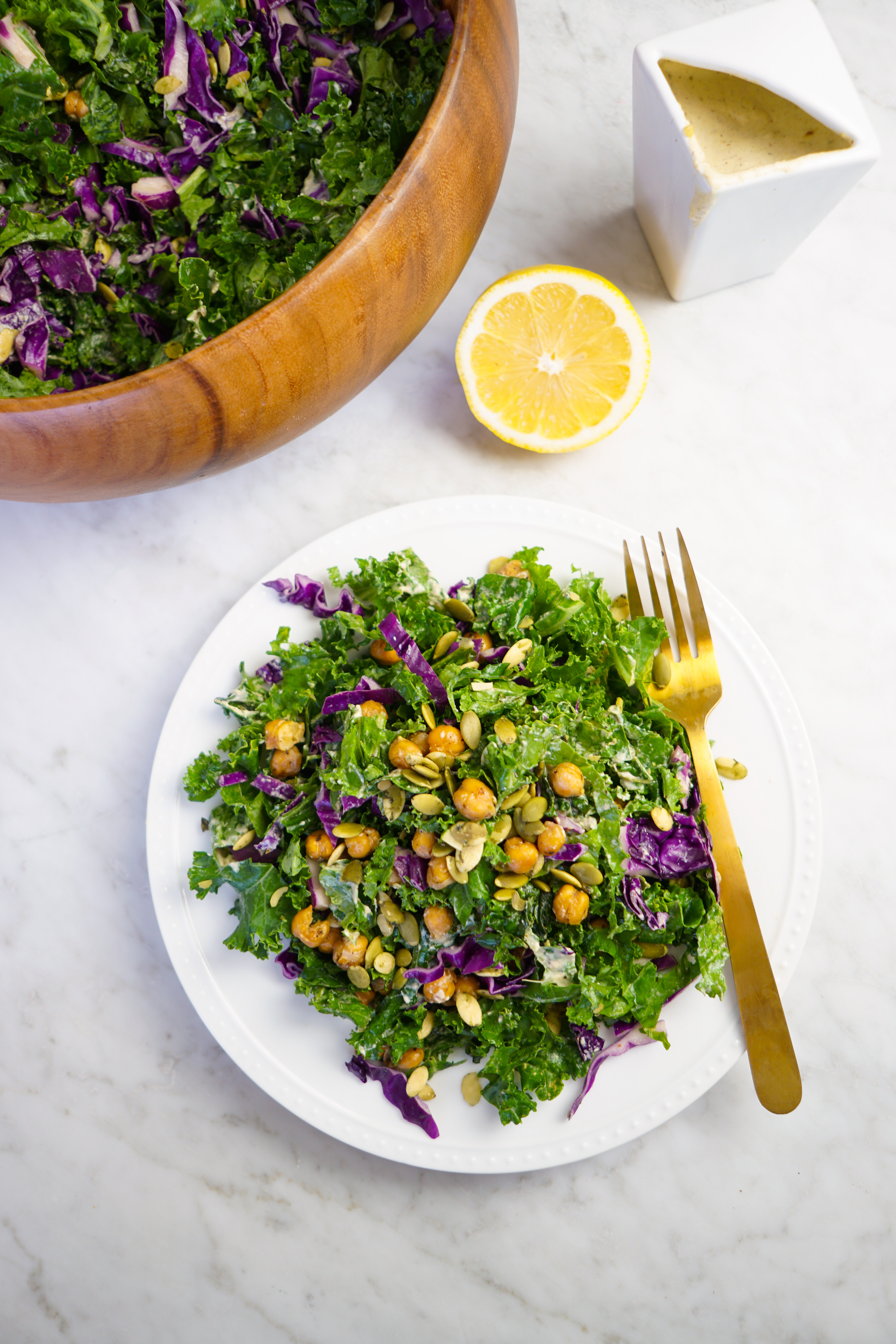 vegan kale caesar salad and dressing