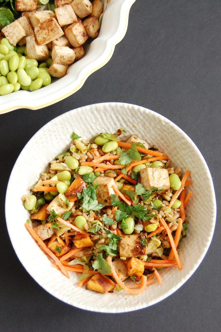 asian-style farro tofu bowl