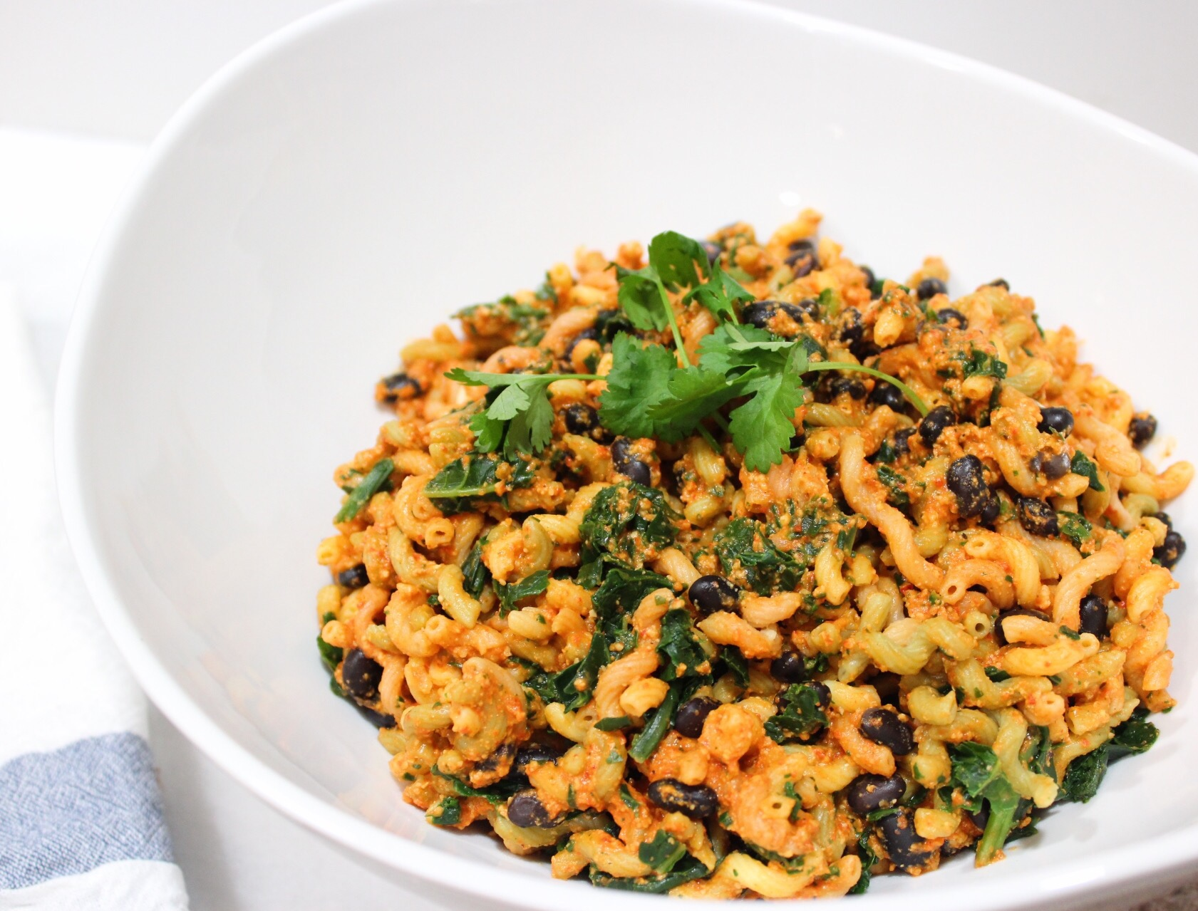 black bean pasta and romesco sauce