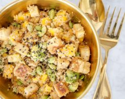 vegan mango edamame quinoa salad