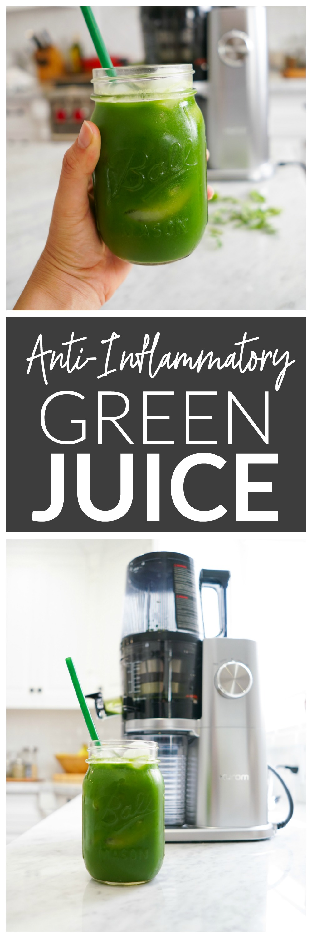 Anti-Inflammatory Green Juice made with pineapple, kale, spinach, arugula, ginger, turmeric, and black pepper.
