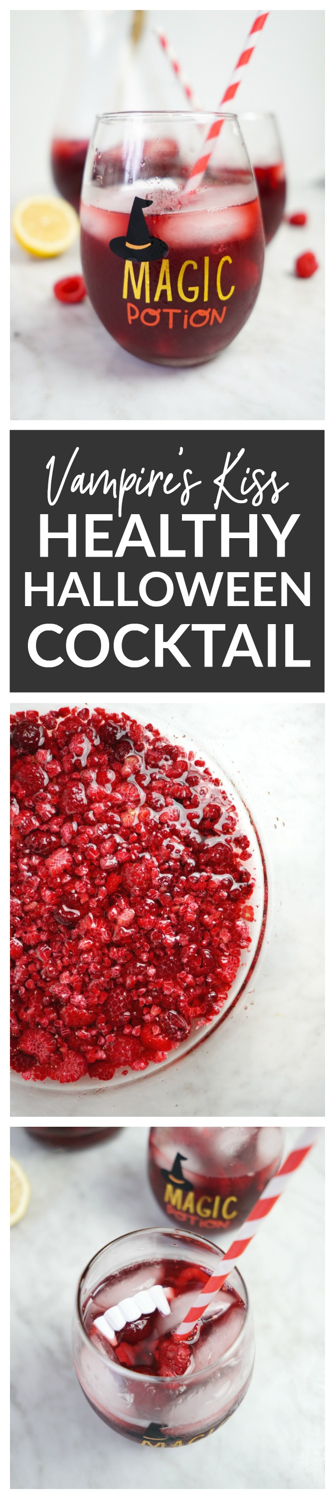 Vampire's Kiss Healthy Halloween Cocktail Recipe - made with frozen raspberries and fresh pomegranate juice