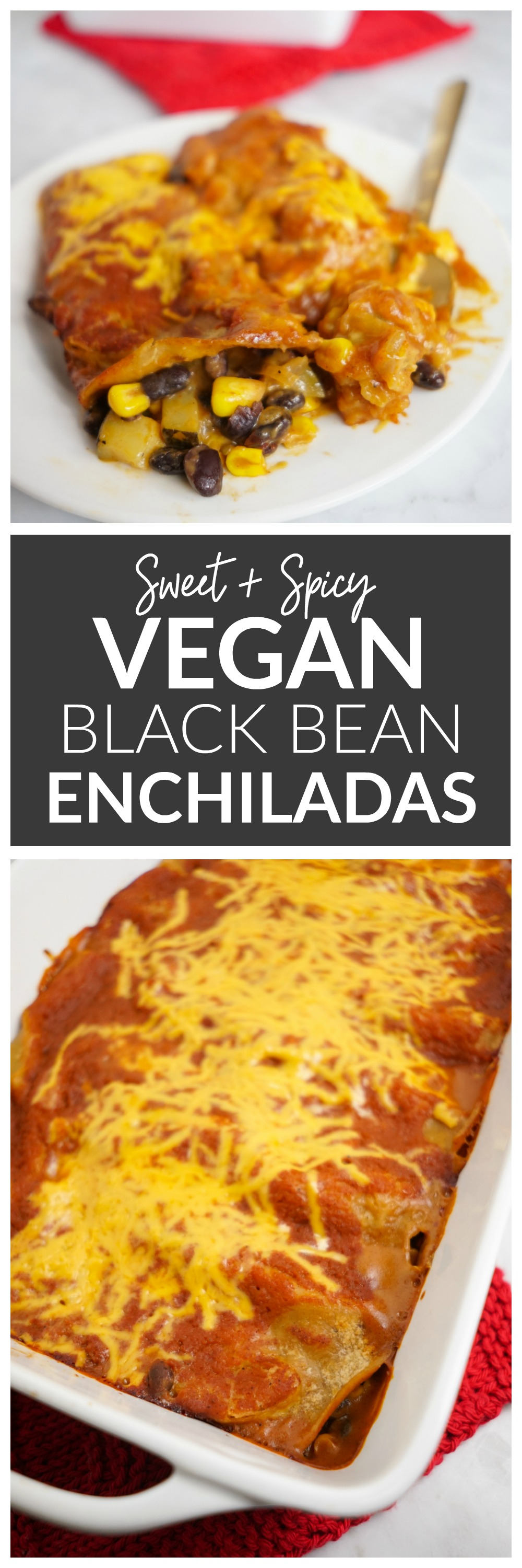 Sweet N' Spicy Vegan Black Bean Enchiladas with a peach enchilada sauce