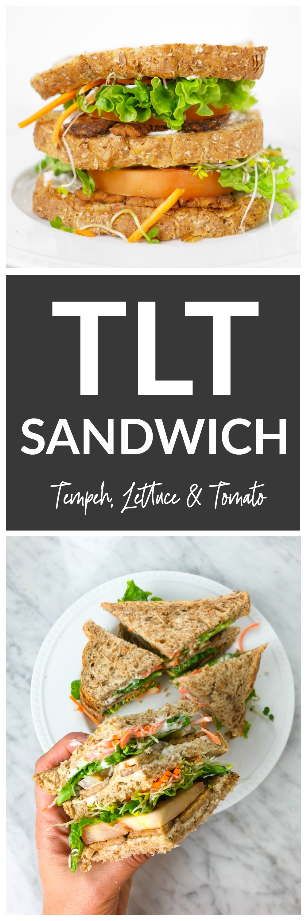 TLT Sandwich - tempeh, lettuce and tomato