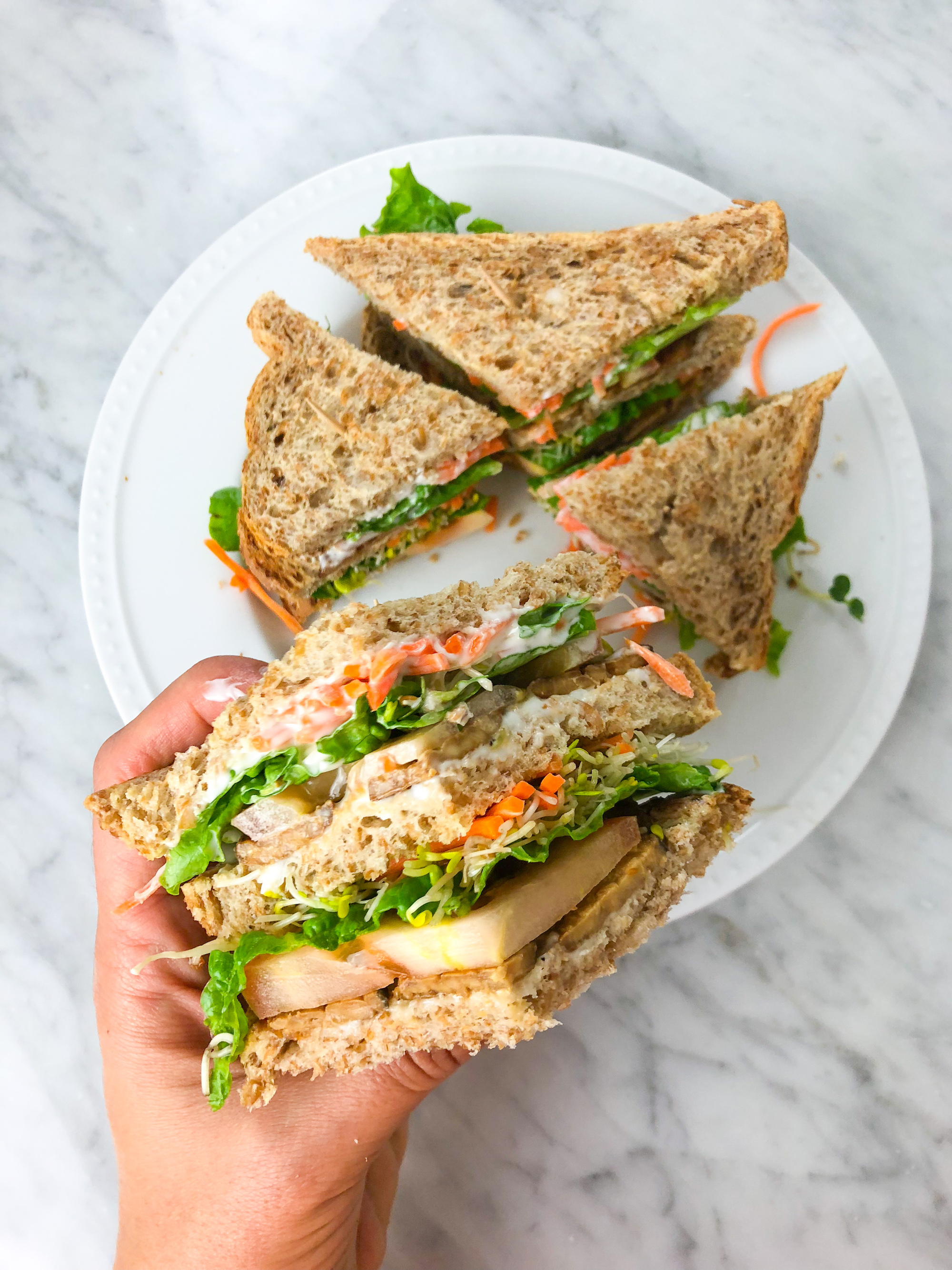 TLT sandwich - tempeh lettuce tomato