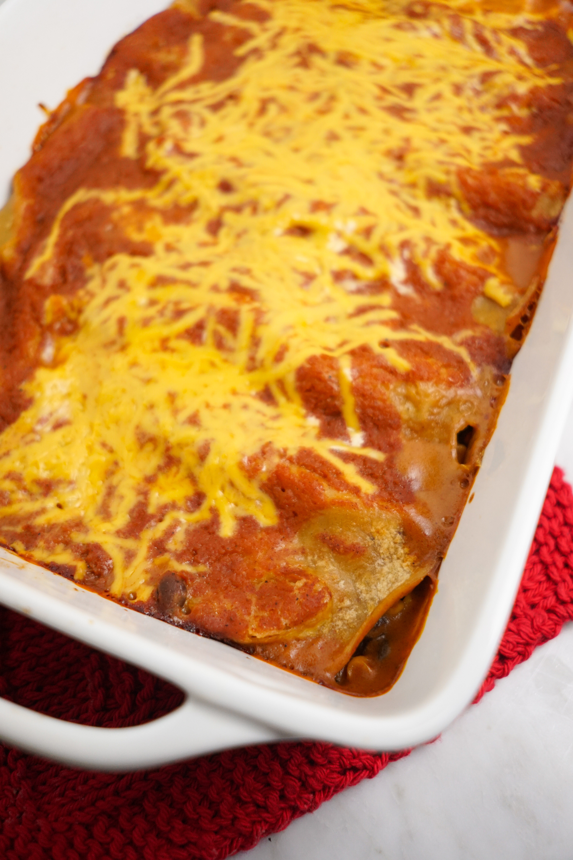 Vegan Peach Black Bean Enchiladas