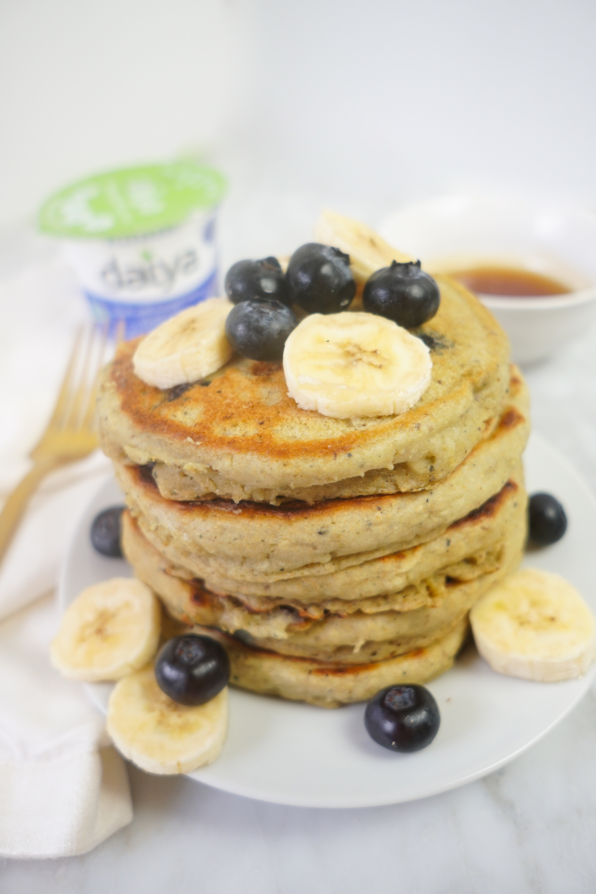 blueberry vegan yogurt pancakes