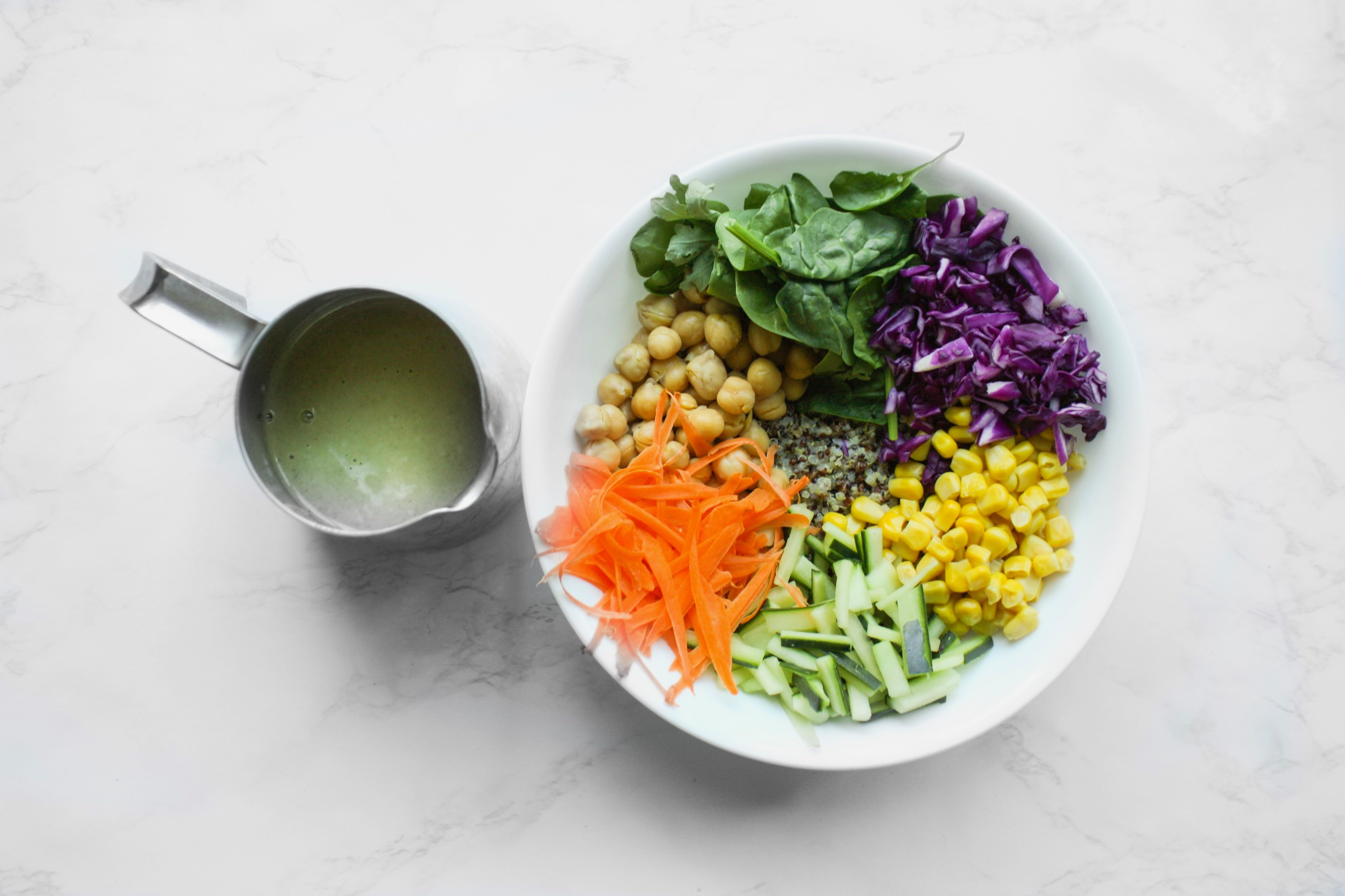 buddha bowl with sunflower seed dressing