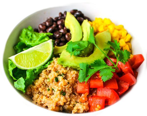 Quinoa burrito bowl choline on a plant-based diet