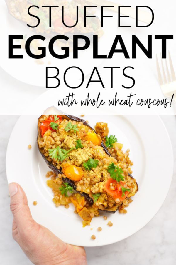 savory stuffed eggplant boats with whole wheat couscous