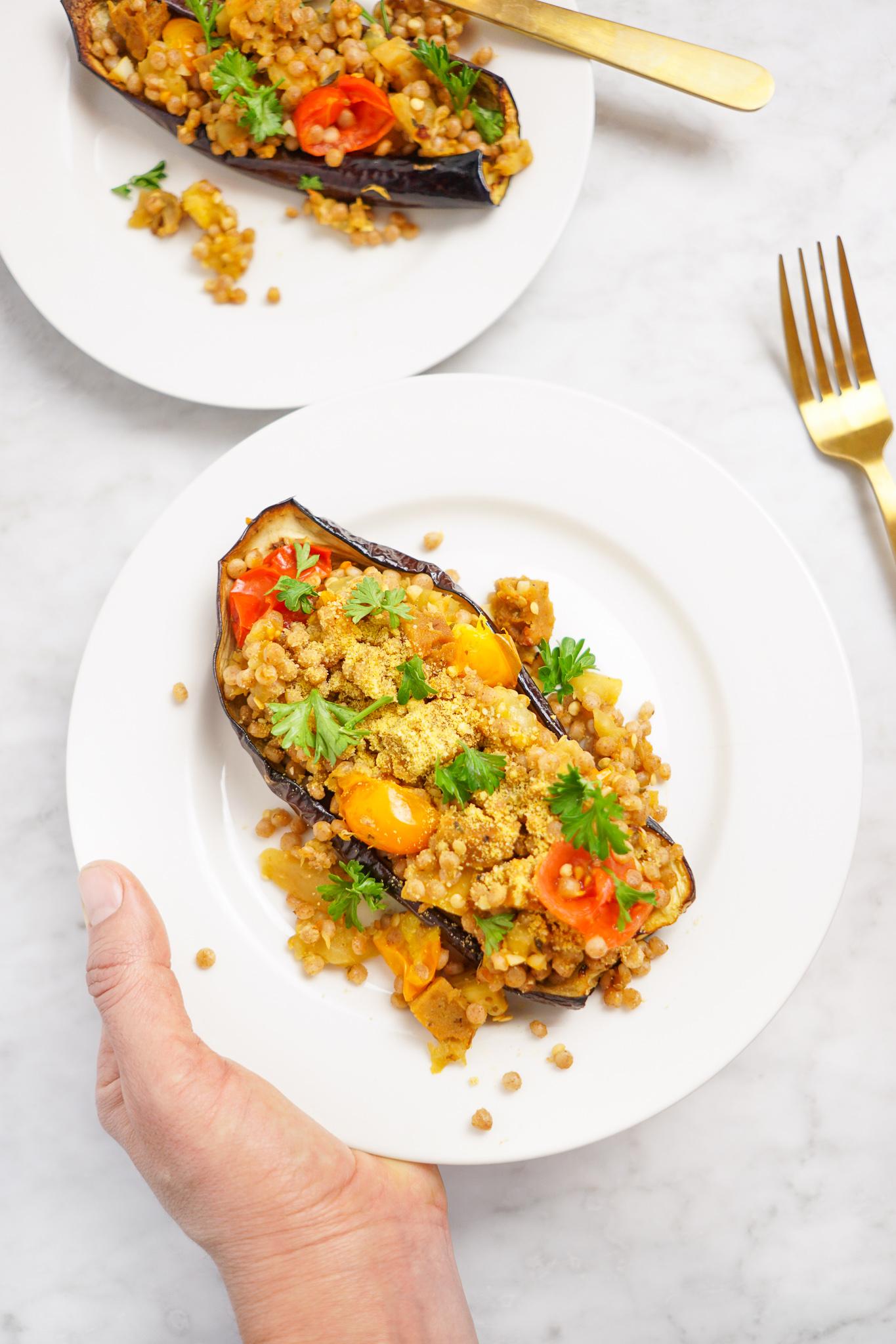 stuffed eggplant boat